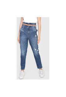 Calça Jeans Colcci Reta Destroyed Azul