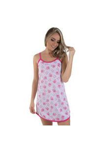 Camisola Malha Linha Noite Pijama Feminino Pink