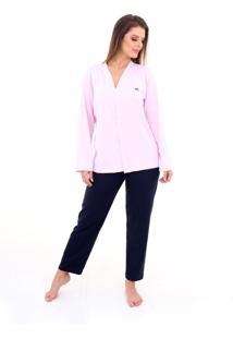 Pijama Algodão Mechler Aberto Longo Rosa/Azul