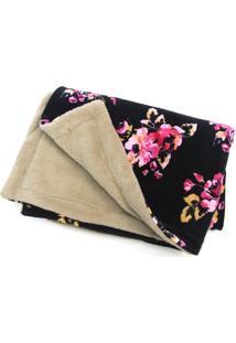 Manta Cobertor Indiozinhos Floral Plush Dupla Face Preta