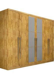 Guarda-Roupa Casal 6 Portas Com Espelho Everest- Novo Horizonte - Freijo Dourado