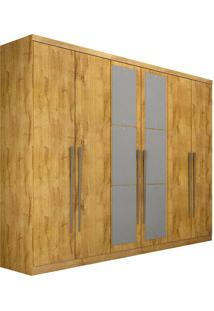 Guarda-Roupa Casal Com Espelho 6 Portas Everest- Novo Horizonte - Freijo Dourado