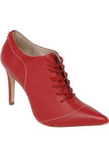 Ankle Boot Em Couro- Vermelho- Salto: 11Cm- Jorgjorge Bischoff