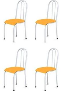 Kit 4 Cadeiras Baixas 0.104 Anatômica Branco/Laranja - Marcheli
