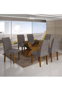 Conjunto Sala De Jantar Mesa Tampo Vidro 180Cm E 6 Cadeiras Olímpia New Leifer Canela/Linho Cinza