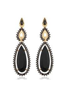 Brinco Ouro Amarelo Diamantes Negros E Quartzo Negro