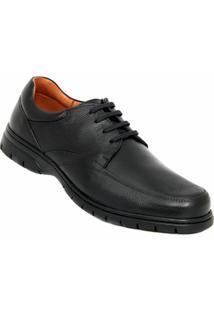 Sapato Social Couro Medical Line Super Gel Masculino - Masculino-Preto
