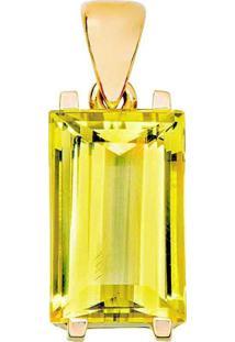 Pingente Art Ouro Em Ouro 18K Com Berilo Retangular Amarelo