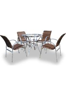 Conjunto De Fibra Sintética Londres 4 Cadeiras + 1 Mesa