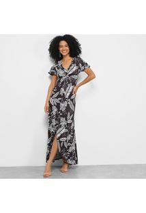 Vestido Mercatto Longo Floral - Feminino-Preto