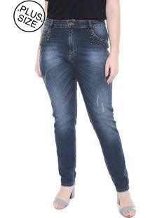 Calã§A Jeans Cigarrete Plus Size Da Mix Jeans Azul - Azul - Feminino - Dafiti