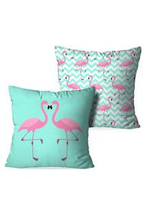 Kit 2 Capas Para Almofadas Decorativas Love Decor Flamingos Love