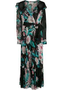 Dvf Diane Von Furstenberg Vestido Gola V Com Estampa Floral - Preto
