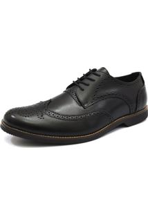 Sapato Social Tradicional - Oxford Florao - G.S. - 6900 - Preto
