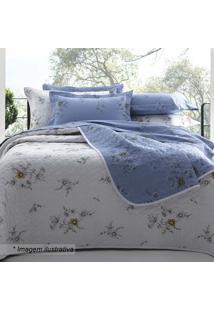 Edredom Crayon Floral Casal- Branco & Azul- 220X250Csultan