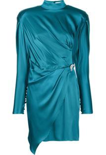 Silvia Astore Vestido Gola Alta - Azul