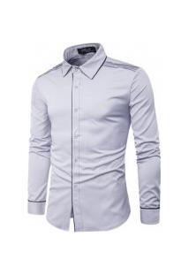 Camisa Masculina Manga Comprida Cs10 - Cinza