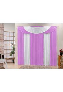 Cortina Bela Tecido Malha Gel Para Sala Ou Quarto Varão De 3,00 Largura X 2,50 Altura Rosa E Branco