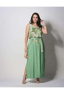 Vestido Almaria Plus Size New Umbi Longo Verde