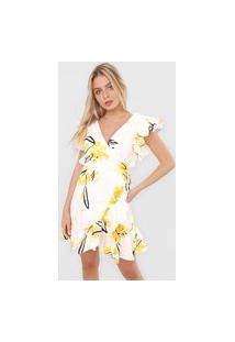 Vestido Lança Perfume Curto Raio De Sol Off-White/Amarelo
