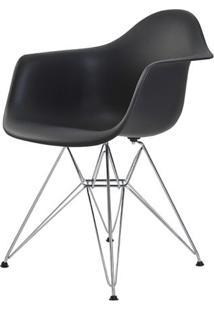 Cadeira Eames Eiffel Com Braco Polipropileno Cor Preto Base Cromada - 44923 Sun House