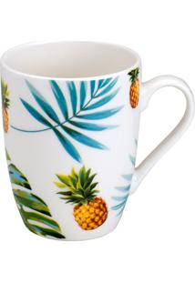 Caneca Pineapple- Branca & Verde- 330Ml- Bon Goubon Gourmet