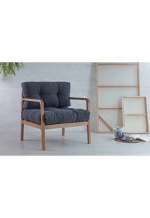 Poltrona Confortável Com Braços Canela Flocos - Verniz Amendoa Tec.997 Chumbo 69X71X79 Cm