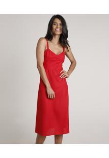 Vestido Feminino Midi Evasê Alça Fina Vermelho