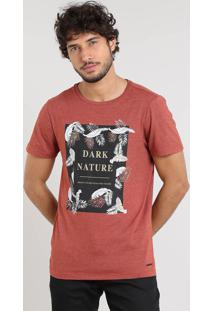 "Camiseta Masculina Slim Fit ""Dark Nature"" Manga Curta Gola Careca Cobre"