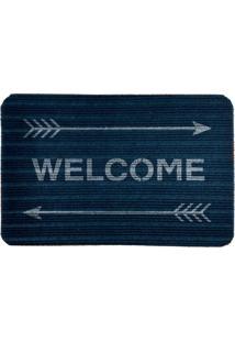 Capacho Carpet Welcome Com Flechas Azul Único Love Decor