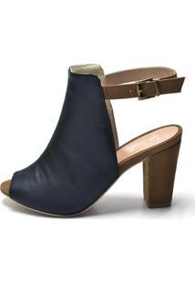 Sandália Open Boot Iza Tonelli Nobucado Preto Detalhes Em Chocolate Salto Grosso