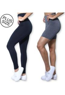 Kit Legging Bermuda Plus Size Heide Ribeiro Basic Suplex Academia Feminino - Feminino-Preto+Cinza