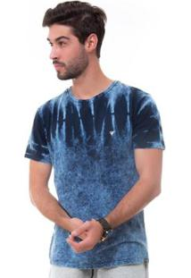 Camiseta D'Affari Marmorizada Com Efeito Tie Dye Masculino - Masculino-Azul