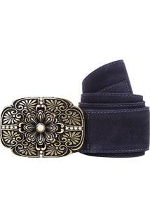 Cinto Shoestock Faixa Camurção Feminino - Feminino-Azul