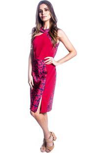 Vestido Carbella Detalhe Recortes Estampado Vermelho Azul