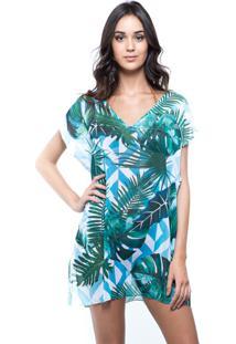 Blusa Estampada 101 Resort Wear Saida De Praia Folhas Verdes