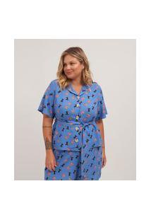Camisa Estampada Faixa Na Cintura Em Viscose Curve & Plus Size | Ashua Curve E Plus Size | Azul | G