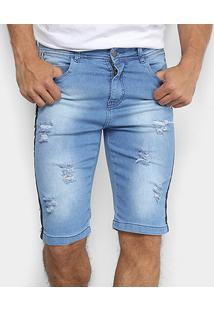 Bermuda Jeans Oxmo Estonada Faixa Lateral Masculina - Masculino