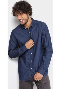 Camisa Jeans Foxton Indigo Masculina - Masculino-Jeans