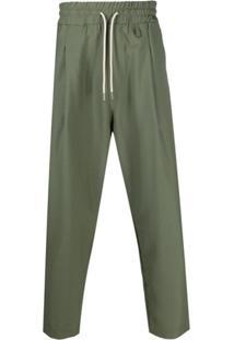 Drôle De Monsieur Drawstring Cropped Trousers - Verde