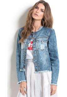 Jaqueta Jeans Com Detalhes Desfiados Quintess