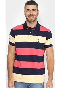 Camisa Polo Aleatory Listrada Masculina - Masculino-Marinho+Amarelo