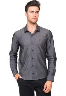 Camisa Social Tony Menswear Slim Fit Maquinetada Cinza