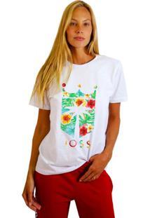 Camiseta Joss Feminina Floral Branco