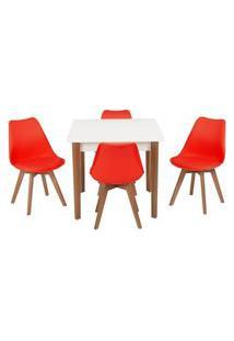 Conjunto Mesa De Jantar Luiza 80Cm Branca Com 4 Cadeiras Leda - Vermelho