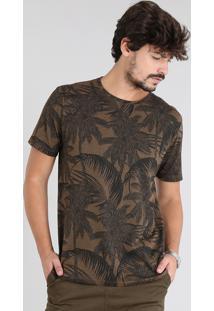 Camiseta Masculina Estampada De Coqueiros Manga Curta Gola Careca Marrom