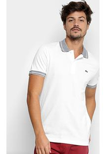 Camisa Polo Lacoste Piquet Frisos Masculina - Masculino-Branco+Marinho