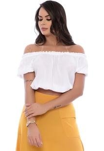 Blusa Cropped B'Bonnie De Viscose Lara Branca