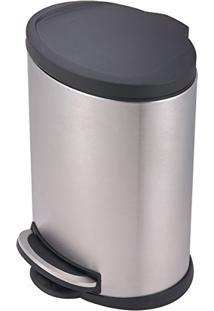Lixeira Com Tampa Pp 12 Litros Onix Em Aço Inox 8231 Mor