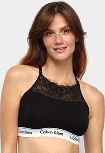 Top Calvin Klein Canelado Renda Modern Cotton Lace Feminino - Feminino-Preto